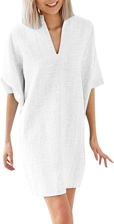 Robe Chemise Coton Et Lin Ete Gante 1 2 Manches Robe Femme Soiree Cocktail Robe Boheme Femme Chic Amazon Fr Vetements Et Accessoires