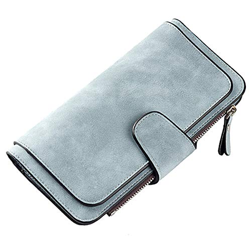 Laynos Wallet for Women Leather Clutch Purse Long Ladies Credit Card Holder Organizer Travel Purse Blue by Laynos (Image #1)