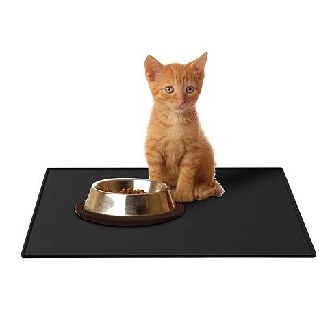 Alfombrilla de silicona Premium para comederos de perros y gatos, con borde extra alto y