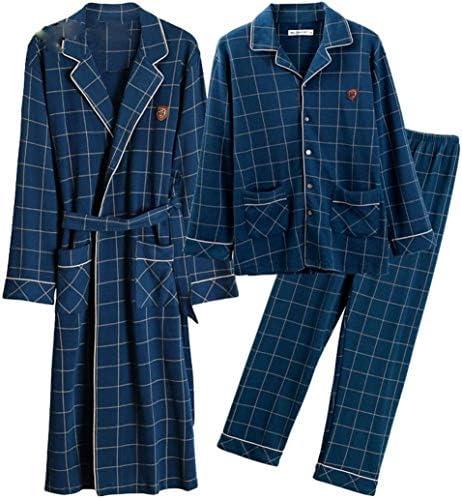 男性用パジャマ、シルクパジャマ男性の綿の格子縞のパジャマはローブ長袖ルーズバスローブボタン首輪パジャマホームサービス3ピーススーツを設定します。 (Size : 175-XL)