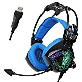 SADES Updated MoLing USB Multi-colors Flashing LED Light Stereo Gaming Headset Headband Headphone with Microphone/Volume-control/Noise-isolating for PC Mac Computers (Black Blue)