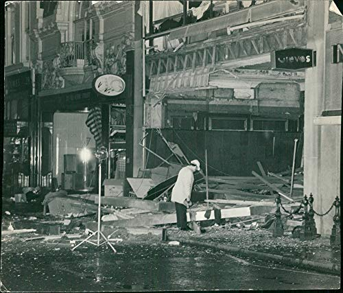 (Vintage photo of I.R.A bombings in london: the old bond street tailors.)