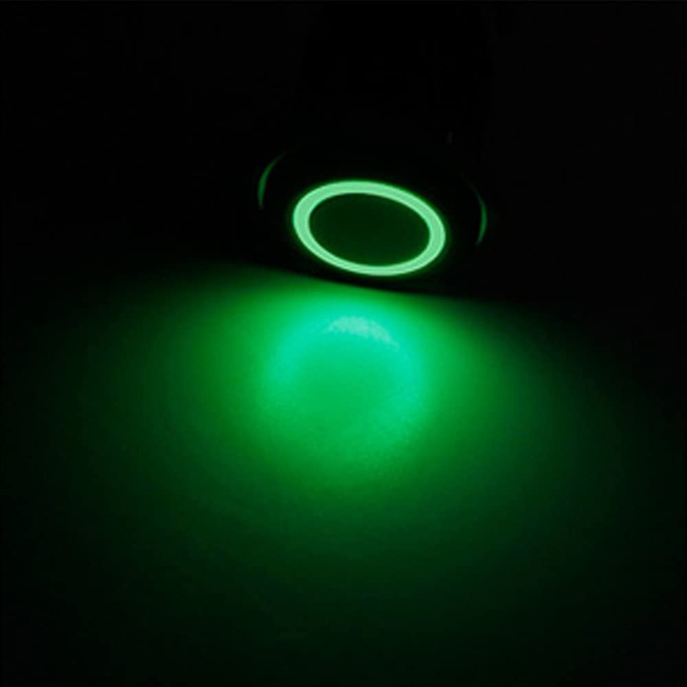 Mintice Black Case 22mm 12V 5A Car Toggle Switch Vehicle Green LED Light Angel Eye Stainless Steel Metal Push Button Socket Plug