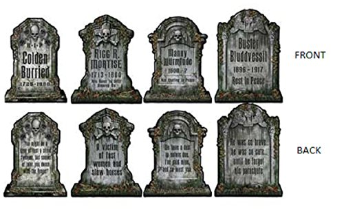 Club Pack of 24 Gray and Black Tombstone Halloween Cutout Decorations 16