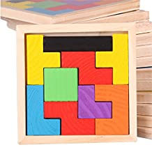 TPSKY Tetris Children's Wooden Color Blocks Jigsaw Puzzle Toys Puzzle Big Challenge