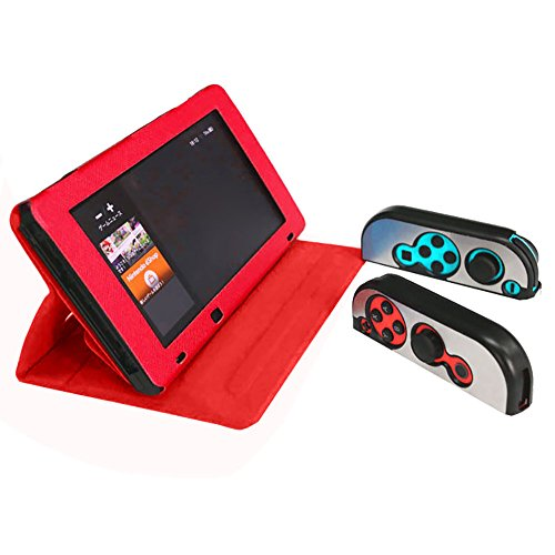 Iusun For Nintendo Switch Console Protective Cover Case+Controller Metal Case Compatible Anti-Scratch Ultrathin Shock-Absorption Crystal Soft Shell Slim Transparent Protective Cover Case (Red)