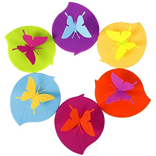 Teabloom Butterfly Cup Lids - Anti-dust Airtight Seal - CLEARANCE SALE - FDA Silicone - Drink Cup Lids - Mug Lids (Set of 6)