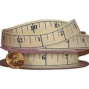 """Tape Measure Printed Grosgrain Ribbon - 5/8"""" Wide 10 Yards Long"""