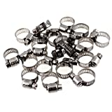 Uxcell Adjustable Stainless Steel Worm Gear Hose Clamps (20 Piece), 9mm-16mm