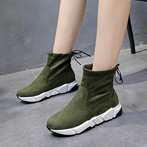 Calzado de Ocio de Fondo Grueso Deportivo Zapatos Altos para Ayudar con Los Zapatos de Tela Elásticos , ejercito verde , EUR37