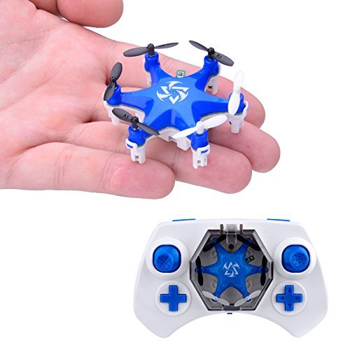 Mokasi® 6 Propellers Mini Pocket Drone, 2.4Ghz 4CH 6-Axis Gyro RC Micro Quadcopter with 3D Flip, Headless Mode,Nano Copters RTF Mode 2 Blue
