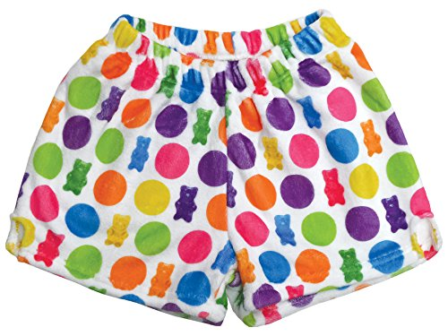 iscream Big Girls Silky Soft Print Plush Shorts - Gummy Bear Rainbow, Medium (10/12)