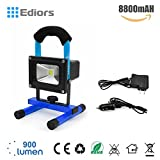 Ediors® 10W LED Work Light, Rechargeable & Portable, 900lm, 8800mAh Detachable Battery, adapter and Car Charger Included, Waterproof, Outdoor Floodlight (Blue)
