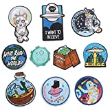 ebateck Patch 10Pcs Cute Space Assorted Embroidered Sew On/Iron On Patches Appliques Clothes Jeans Dress Pants Hat Sewing DIY Accessory