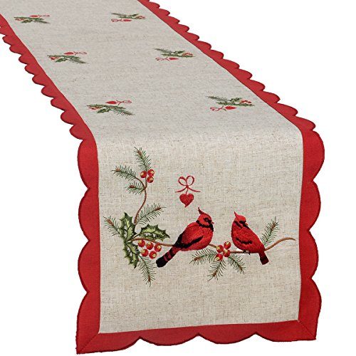 (Grelucgo Embroidered Christmas Holiday Decorative Cardinal Table Runner, Rectangular 15 x 106 Inch)