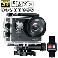 Legazone Action Camera Diving 30M 2inch LCD 12MP 4K 30FPS 170 Wide Angle Lens Waterproof Camera Underwater Sport FPV Bike Camera Sport DV Mini DV with Remote Control