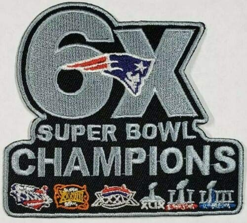 - New England Patriots 5 x Champs Iron On Logo Embroidered Patch 3.65 inches x 3.25 inches