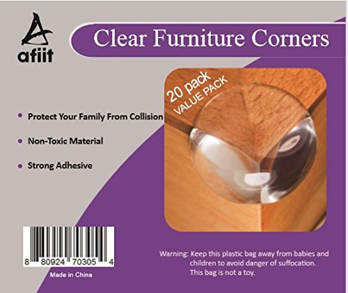 AFIIT- Clear Corner Guards Clear Corner Furniture Protectors Baby Proofing from Furniture Sharp Edges Child Safety Corner Cushions Bumper Head Injury Protection Quick Easy to Use Pre-Stick Adhesive by AFIIT (Image #7)