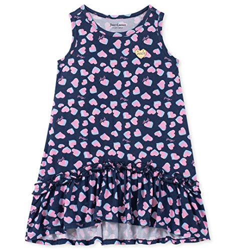 Couture Heart Girls Juicy - Juicy Couture Girls' Big Summer Dress, Pink Heart Print 8/10