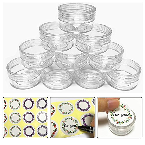 (20 Pieces Clear) 10gram/10ml Round Clear Container Jars with Clear Lids for Lotion, Creams, Toners, Lip Balms, Makeup Samples with Label - BPA Free
