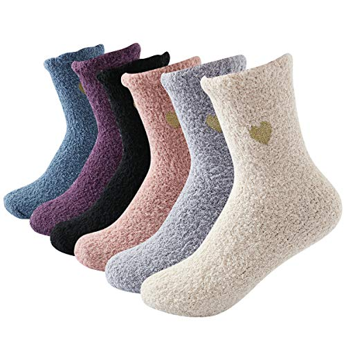 Beauttable Cozy Fuzzy Heart Socks,Fluffy Socks Girls,Women Soft Sleeping Winter 6Pairs (Socks Snuggle)
