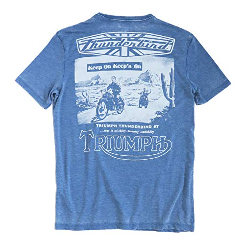 Lucky Brand Men's Burnout Triumph Thunderbird 6T Motorcycle Tee (Small) Blue ()