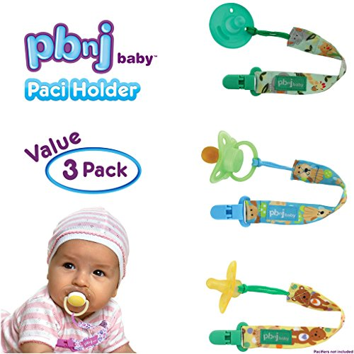 PBnJ baby Pacifier Clip Holder Strap Leash Tether for Boys and Girls with Safe Plastic Clip (Jungle, Puppy, Bear 3-Pack) - Avent Soothie Pacifers