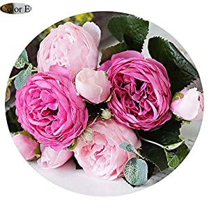 Elibone artificial-flowers for Decoration Rose Peony Silk Small Bouquet Flores Party Spring Wedding Decoration Mariage Fake Flower,E 67