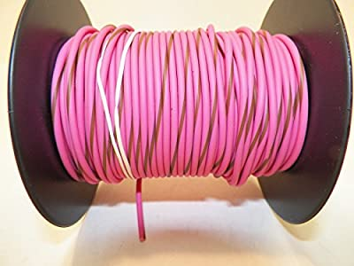 Pink/Brown Striped, 18 GA Gauge AWG GXL Wire, 100' Spool, For Automotive, Truck, Motorcycle, RV. General Purpose Copper .94 O.D. Abrasion Resistance, High Heat