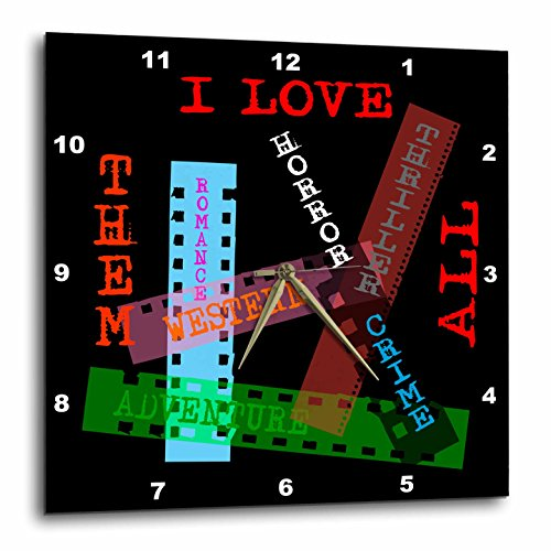 3dRose Alexis Design - Positive - Film Genres titles on color films. I love them all on black - 15x15 Wall Clock (dpp_273744_3) by 3dRose