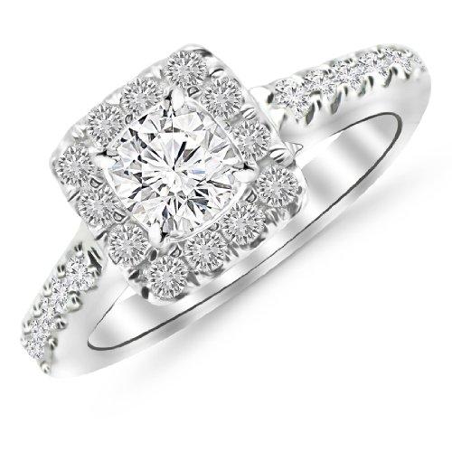 1.56 Carat Square Halo Diamond Engagement Ring 14K Black Gold with a 1 Carat J-K I1 Round Brilliant Cut/Shape Center