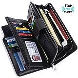 Alavor Women RFID Blocking Trifold Wallet Long Clutch Credit Card Organizer Large Capacity Purse (Black)