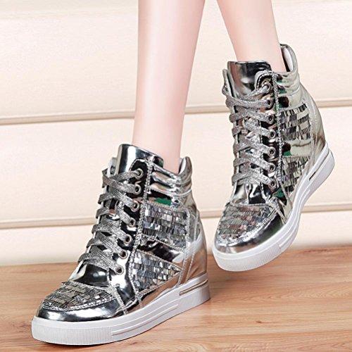 DUNHU Women Fashion Flat Sneaker Ankle High Walking Shoe (Silver/Black) Silver 351DxP5