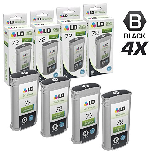 LD Remanufactured Ink Cartridge Replacement for HP 72 C9403A High Yield (Matte Black, 4-Pack)