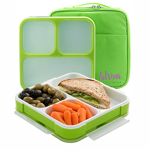 Bento Lunch Box with Insulated Bag | Slim Design Fits in Bag or Large Purse | 3 Leakproof Compartments for Easy...