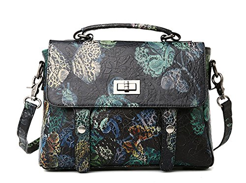 La mujer Xinmaoyuan bolsos impresos pintados bolsos de cuero Bolsos de señora en piel Bolso Messenger Bag.Negro Azul Woth Negro con azul