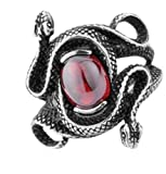 Epinki Stainless Steel Womens Antique Double Head Snake Rings With Ruby Women Size 7 Ring