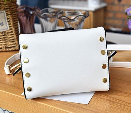 Messenger mujeres white genuino Bag cuero de asas bolsa de de La la las de Black manera bolso qOfwWUBpg