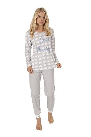 reputable site c9bcf 64fa5 Damen Pyjama Schlafanzug Rundhals Langarm Herzchen Uni Hose ...