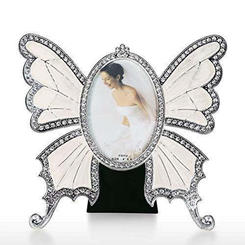 Tooarts Vintage Metal Picture Frame Photo Frame Home Decor Desktop Table Top Frame Butterfly Style Design (Shaped Frame Butterfly Photo)