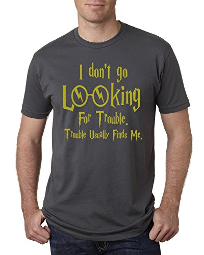 Price comparison product image Harry Potter I Don't Go Looking For Trouble Men's T Shirt Graphic Fashion Tee ( Charcoal ,  2XL )