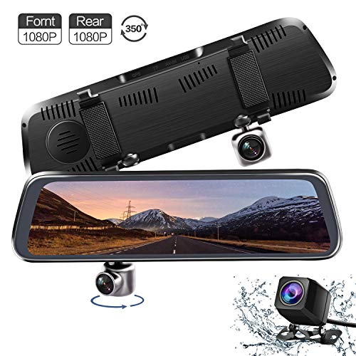 (Mirror Dash Cam, V35 10 Inch Full Touch Screen 350 Degrees Rotating Front Camera Dual 1080P Front and Rear View Recording Stream Media Dashboard Camera with Parking Mode G-Sensor Reverse Assistance )