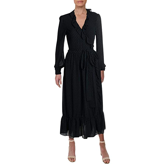 3014d9f0dd Image Unavailable. Image not available for. Color  Michael Michael Kors  Womens Chiffon Ruffled Wrap Dress ...