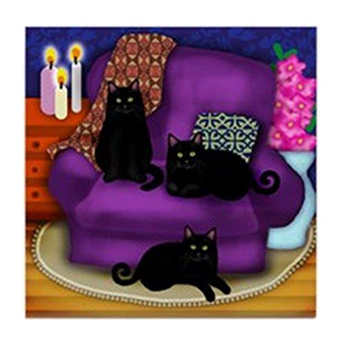 - CafePress - 3 BLACK CATS - Tile Coaster, Drink Coaster, Small Trivet