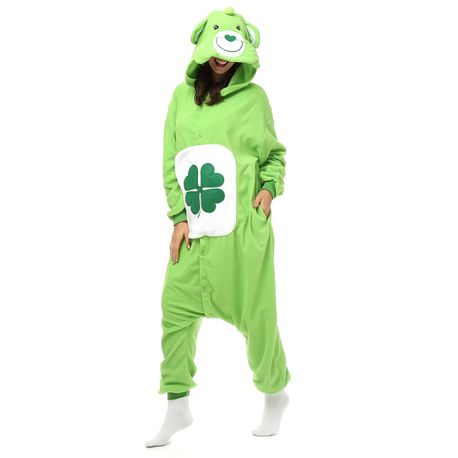 Adult Clover Care Bear Onesie Fleece Cartoon Sleepwear Cosplay Costume Unisex