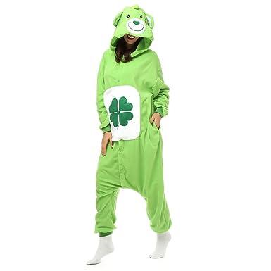 Adult Clover Good Luck Care Bear Onesie Polar Fleece Pajamas Cartoon Sleepwear Animal Halloween Cosplay Costume