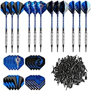 GWHOLE Set of 12 Soft Dart (18g) with 16 Dart Flights and 200 Dart Soft Tip Points for Electronic Dartboard