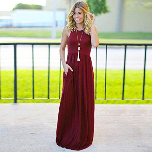 GreatestPAK Femmes Manches lache avec Vin Du Robes Longues Poches Manches sans Robes sans Maxi pour dcontracte rwPwSTq
