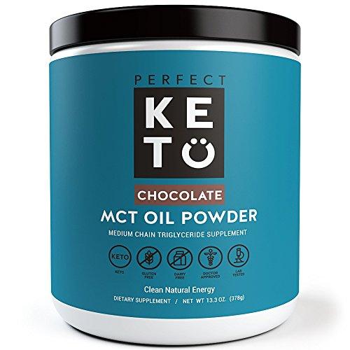 Perfect Keto MCT Oil Powder: Chocolate Ketosis Supplement (Medium Chain Triglycerides, Coconuts) for Ketone Energy. Paleo Natural Non Dairy Ketogenic Keto Coffee Creamer