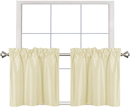Short Room Café 2 Home Queen Blackout Rod Pocket Tier Curtains for Small Window